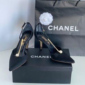 Chanel Satin Pearl Pumps